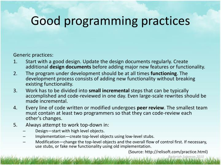Good programming practices