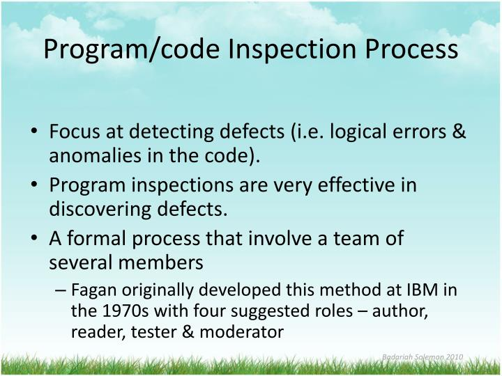 Program/code Inspection Process