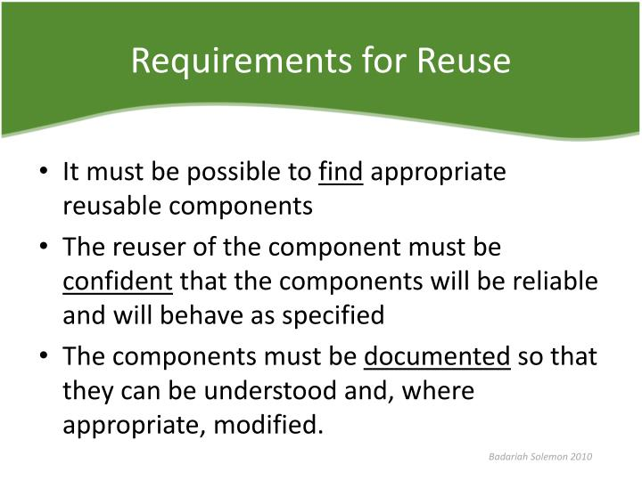 Requirements for Reuse