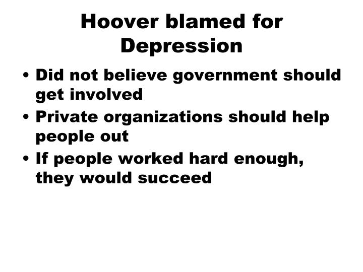 Hoover blamed for Depression