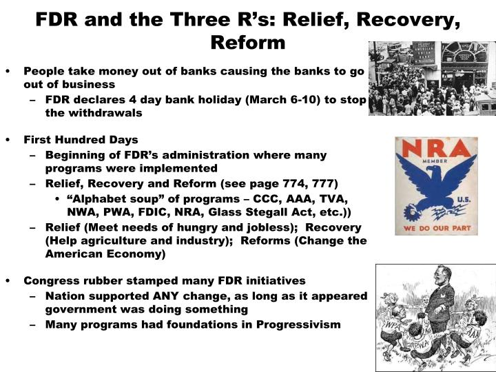 FDR and the Three R's: Relief, Recovery, Reform