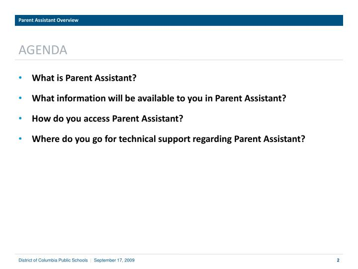 Parent Assistant Overview
