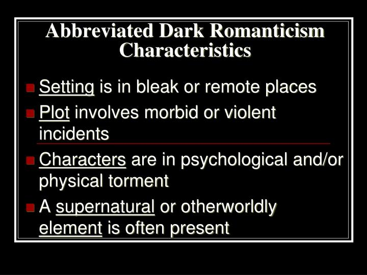 PPT - The Dark Romanti...