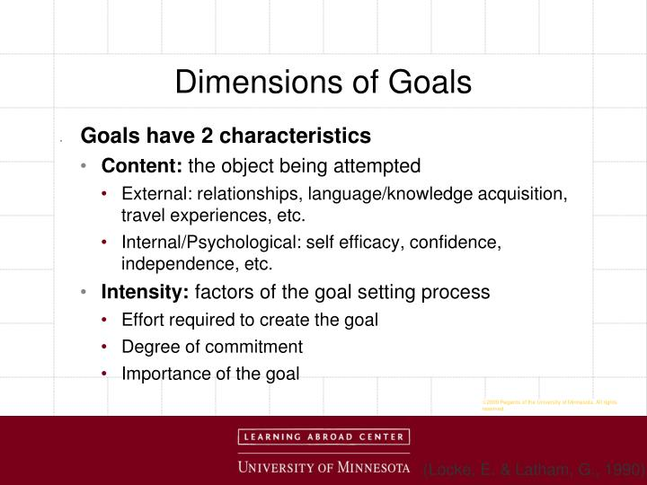 Dimensions of Goals
