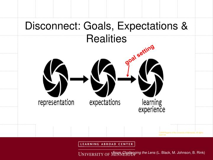 Disconnect: Goals, Expectations & Realities