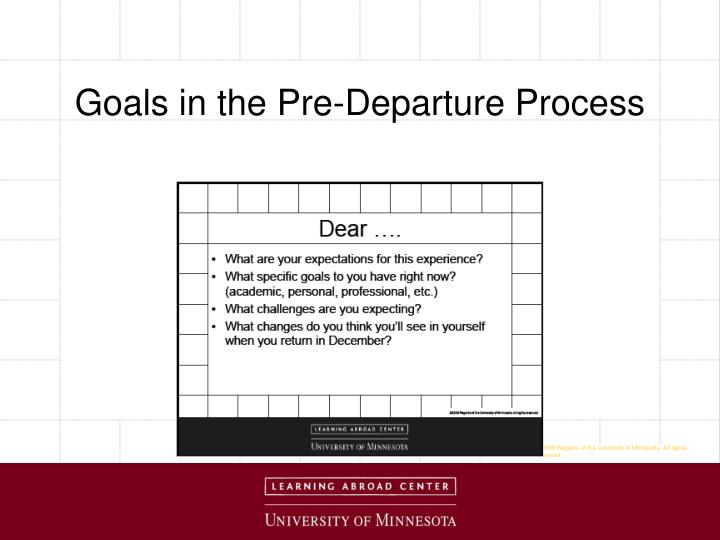 Goals in the Pre-Departure Process