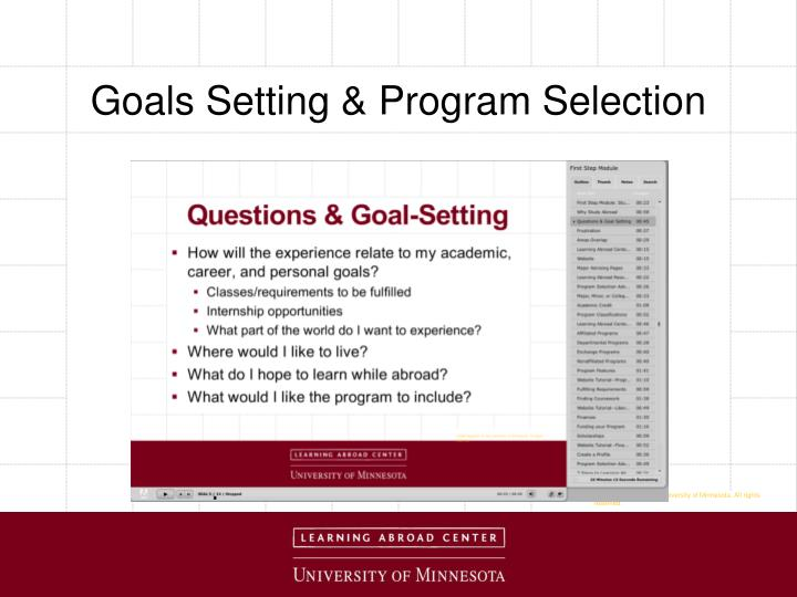 Goals Setting & Program Selection