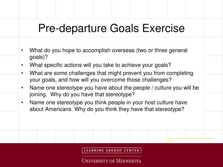 Pre-departure Goals Exercise