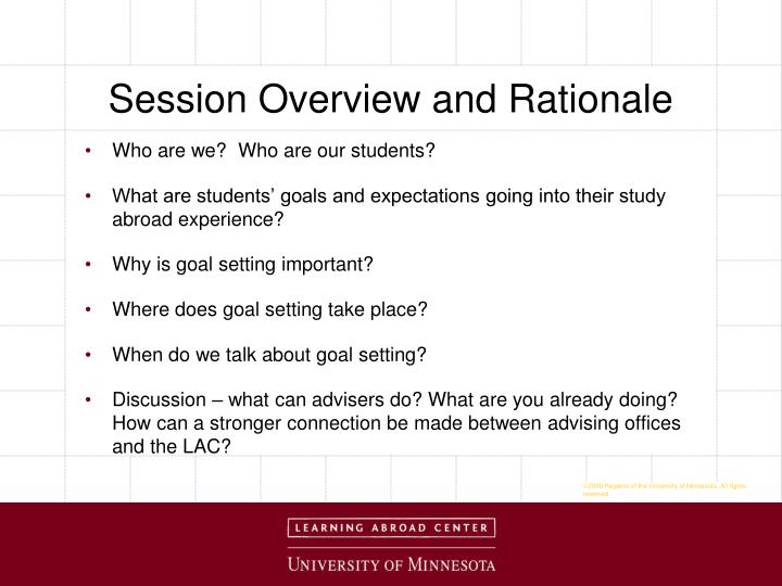 Session Overview and Rationale