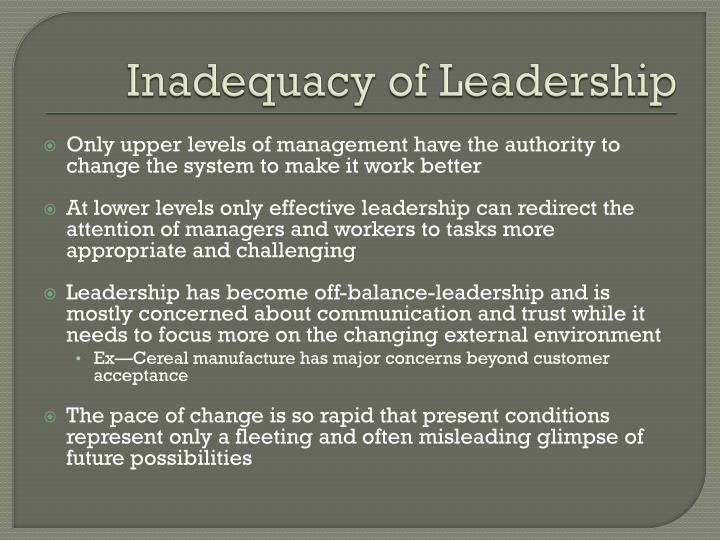Inadequacy of Leadership