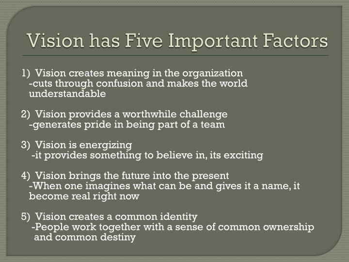 Vision has Five Important Factors