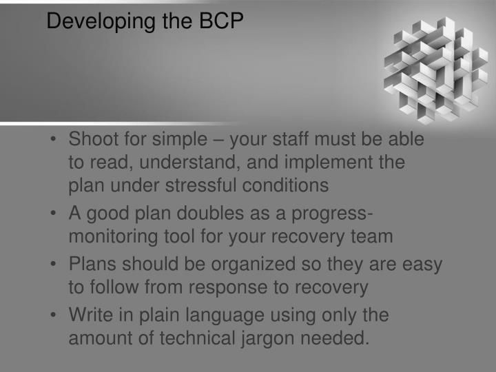 Developing the BCP
