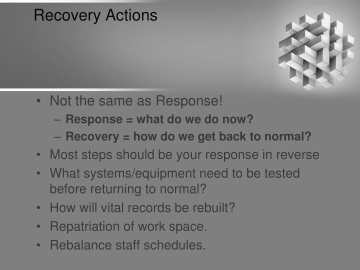 Recovery Actions
