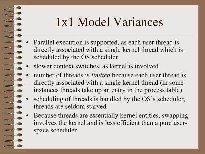 1x1 Model Variances