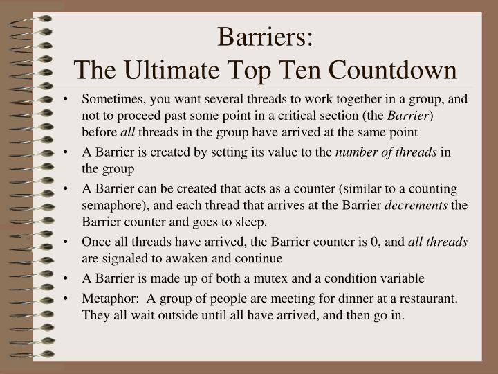 Barriers: