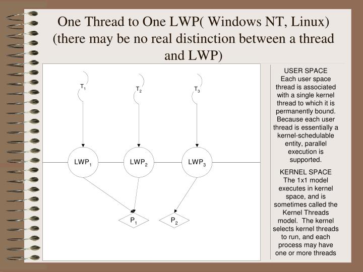 One Thread to One LWP( Windows NT, Linux)