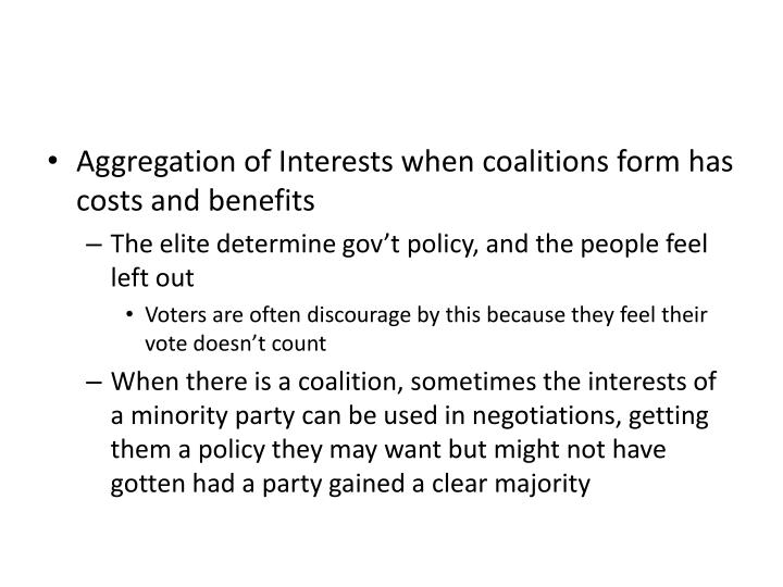 Aggregation of Interests when coalitions form has costs and benefits