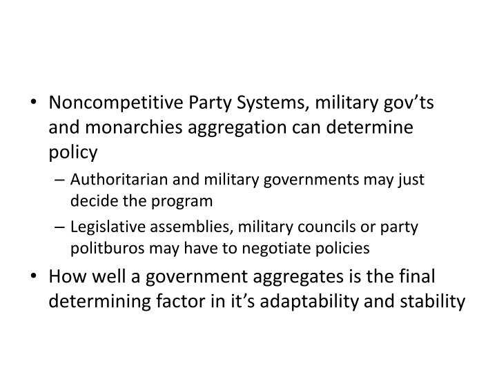 Noncompetitive Party Systems, military gov'ts and monarchies aggregation can determine policy