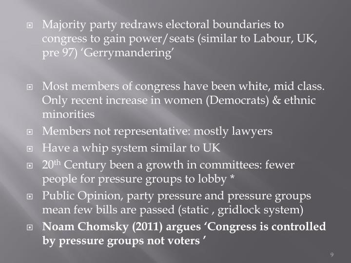 Majority party redraws electoral boundaries to congress to gain power/seats (similar to Labour, UK, pre 97) 'Gerrymandering'