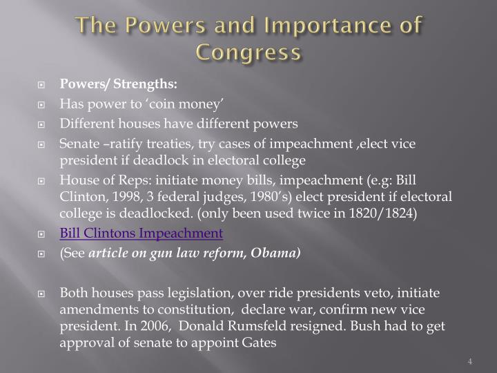 The Powers and Importance of Congress