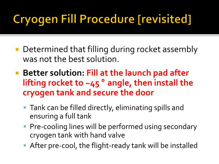 Cryogen Fill Procedure [revisited]