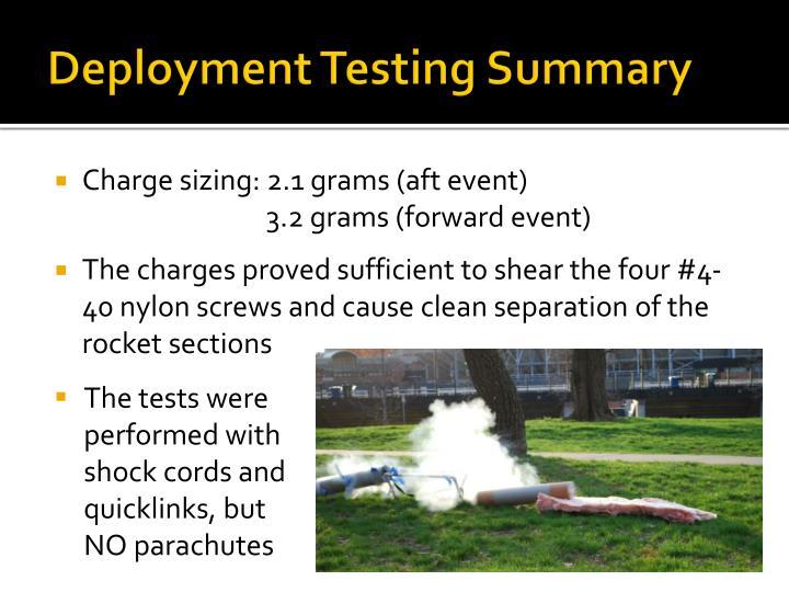 Deployment Testing Summary