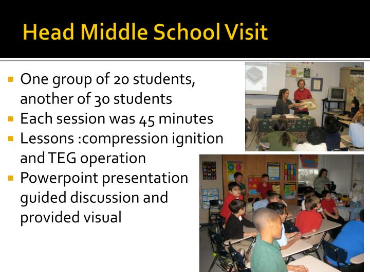 Head Middle School Visit