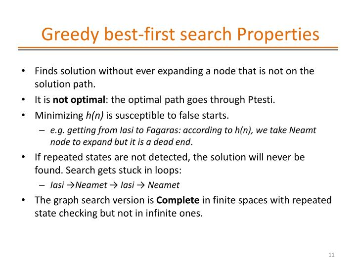Greedy best-first search Properties