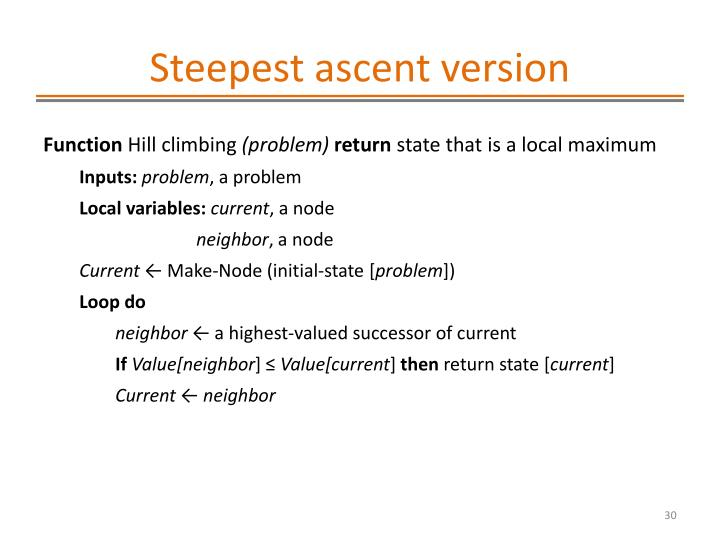 Steepest ascent version