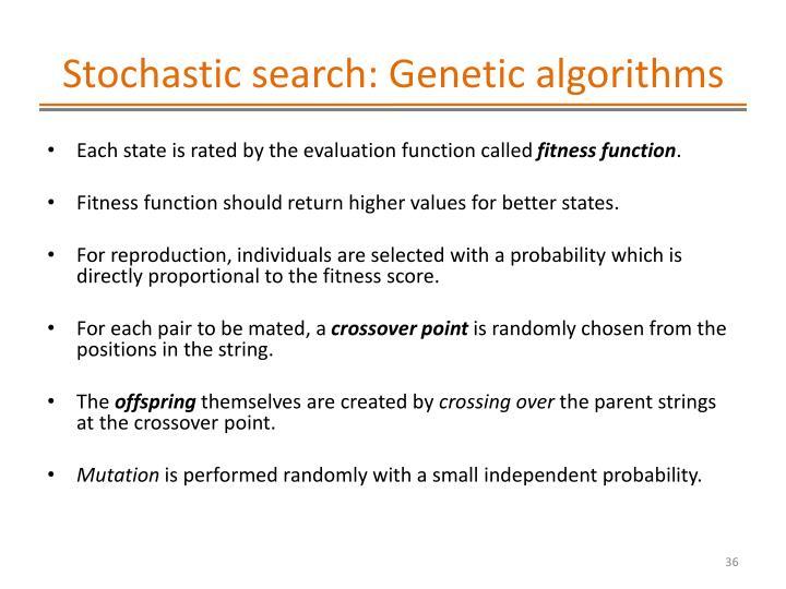 Stochastic search: Genetic algorithms