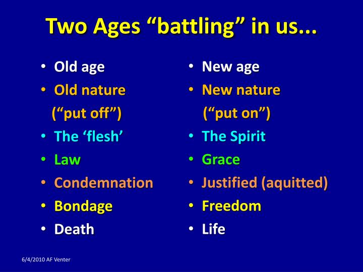 "Two Ages ""battling"" in us..."