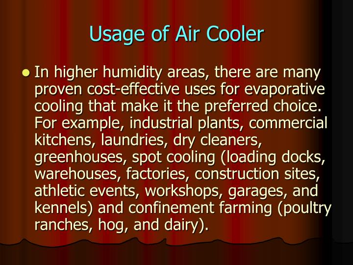 Usage of Air Cooler