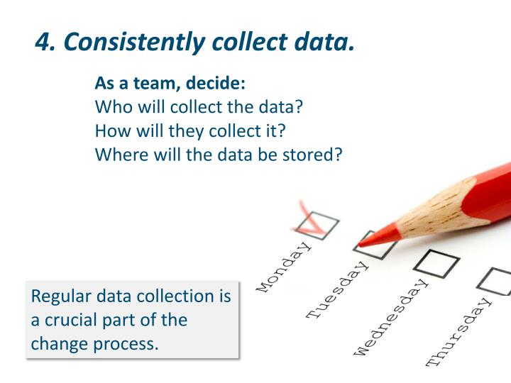 4. Consistently collect data.