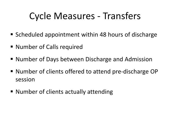 Cycle Measures - Transfers