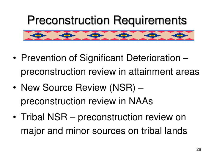 Preconstruction Requirements