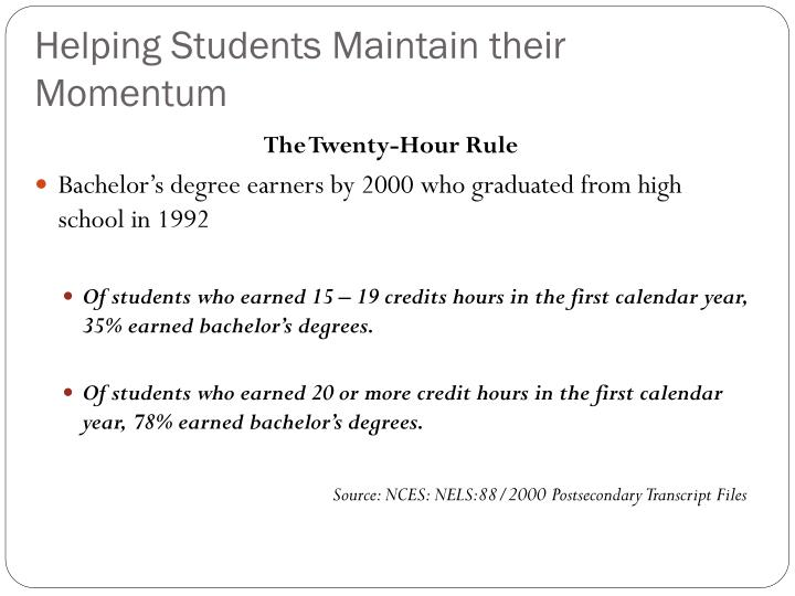 Helping Students Maintain their Momentum