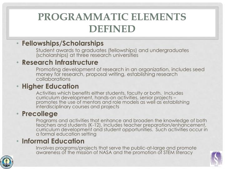 Programmatic elements