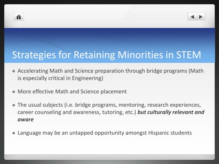 Strategies for Retaining Minorities in STEM