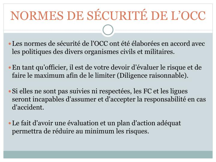 NORMES DE SÉCURITÉ DE L'OCC
