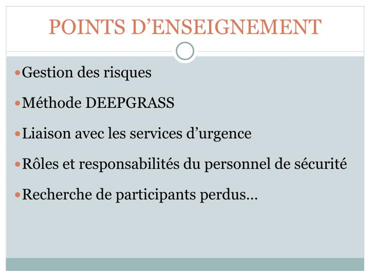 Points d enseignement