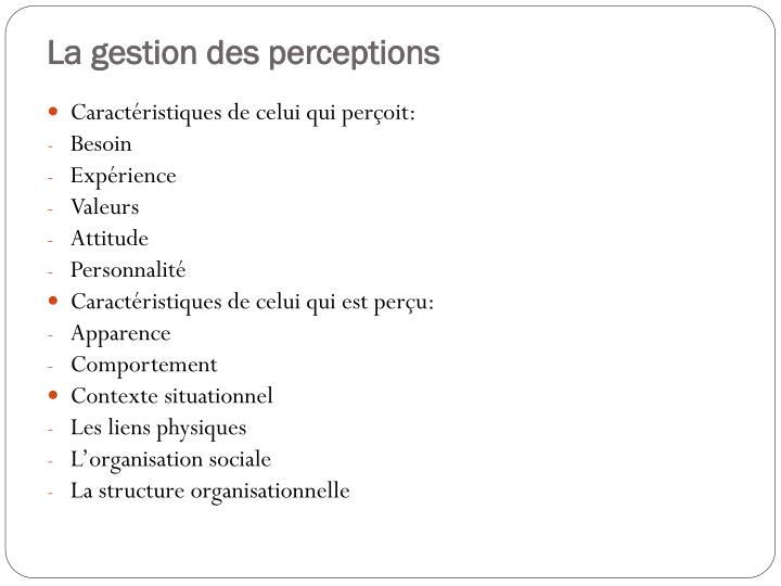 La gestion des perceptions