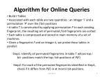 algorithm for online queries