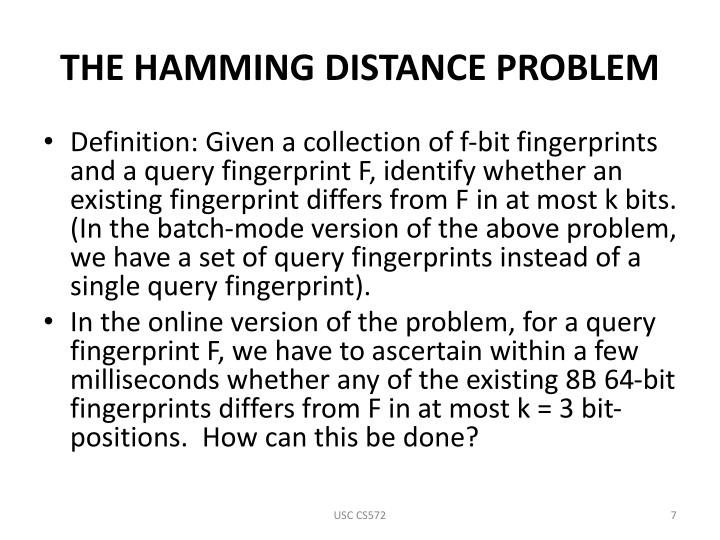 THE HAMMING DISTANCE PROBLEM