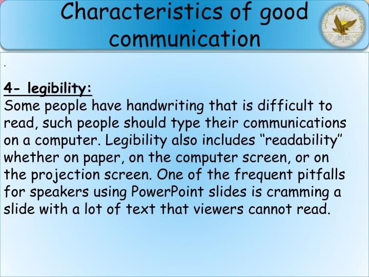 Characteristics of good communication