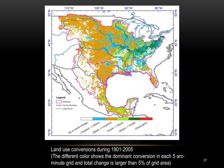 Land use conversions during 1901-2005