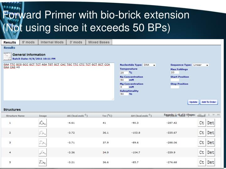 Forward Primer with bio-brick extension