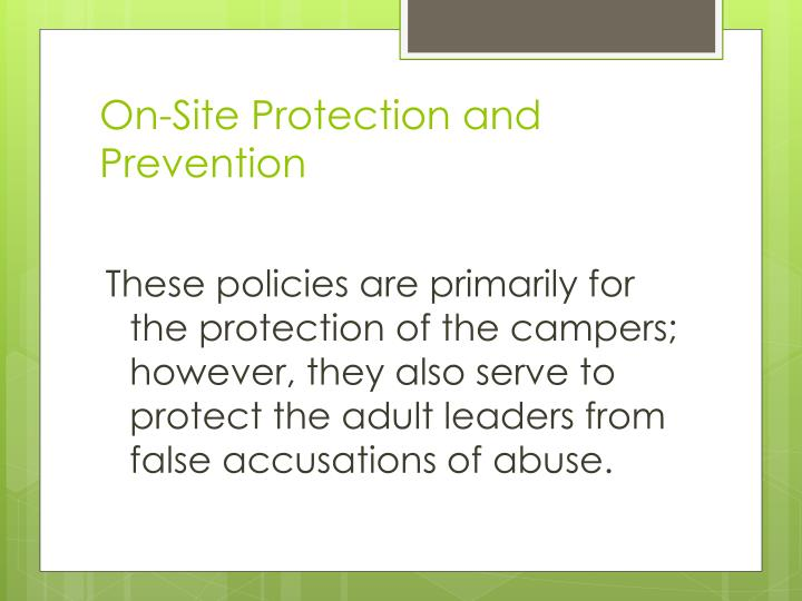 On-Site Protection and Prevention