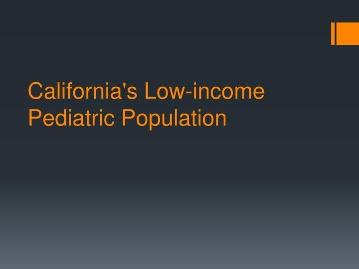 California's Low-income