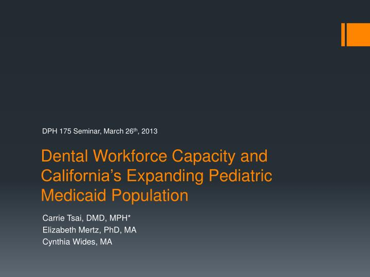 Dental workforce capacity and california s expanding pediatric medicaid population