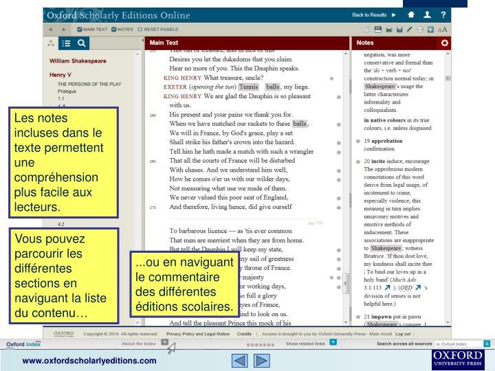Les notes incluses dans le texte permettent une compréhension plus facile aux